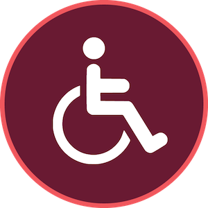 maroon-background icon with a wheelchair graphic in white