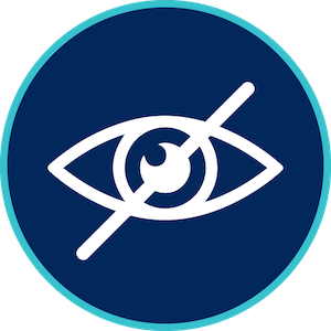 graphic with an eye with a line through it on a blue background