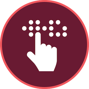 maroon background with a hand reading braille in white