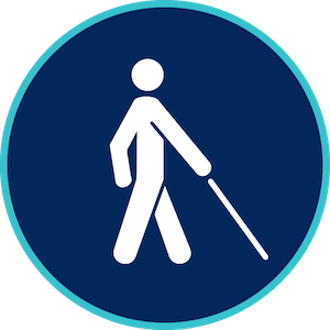 blue background with someone walking with a visual impairment cane in white