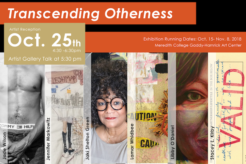 """Postcard with text at top """"Transcending Otherness, Oct. 25th"""" and six rectangular images below to showcase the art."""