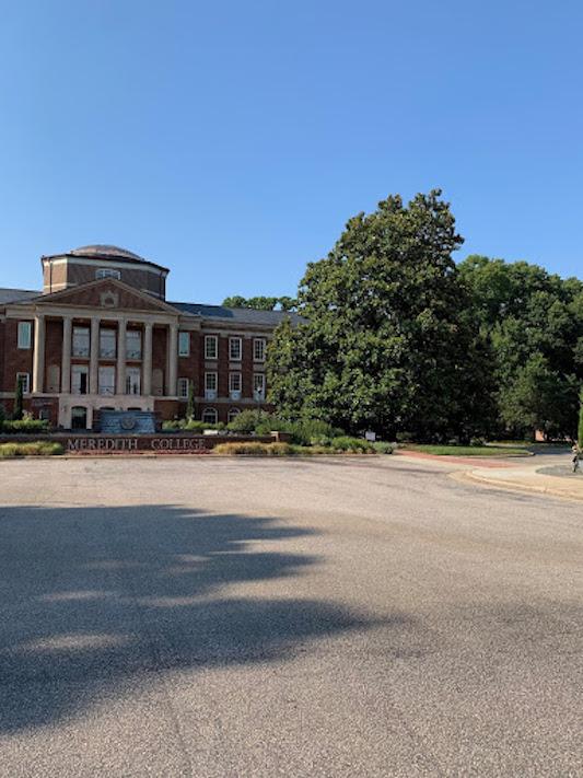 Johnson Hall with a blue sky.