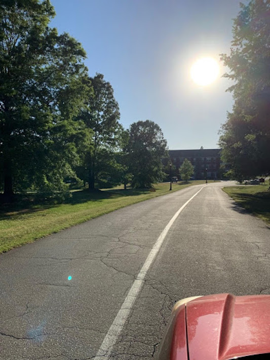 Looking down the road towards the Oaks apartments.