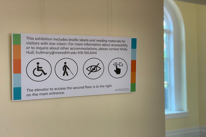 Accessibility description outside of the gallery.