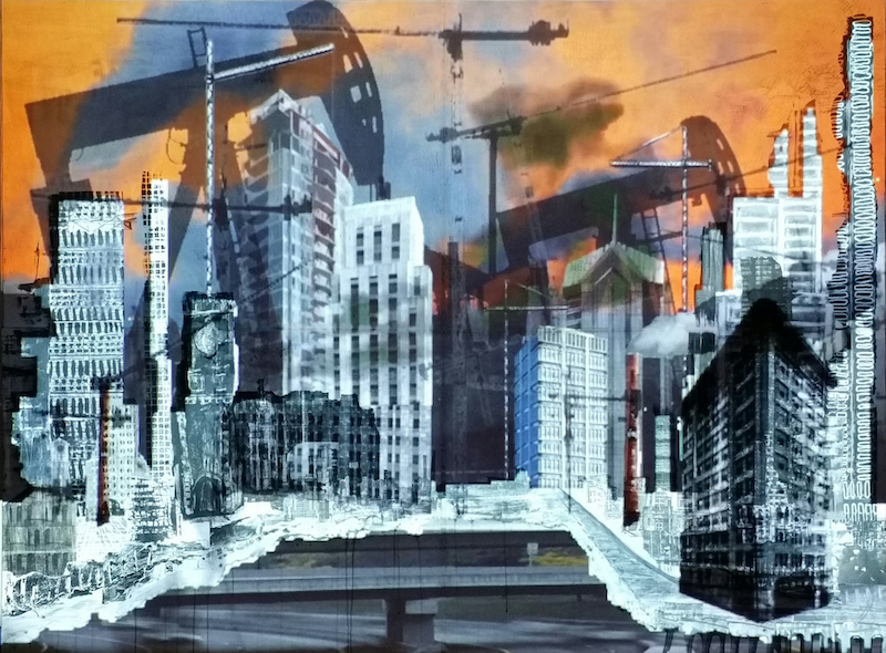 Artwork featuring a cityscape in grays and blues and blacks with an orange sky.