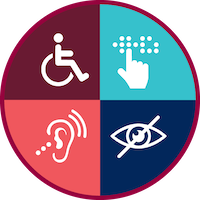 A circular graphic with four colored areas showing a wheelchair, hearing issues, braille, and blindness.