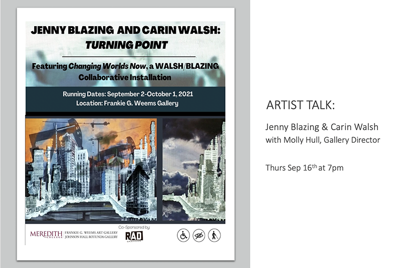 """Image of Jenny Blazing and Carin Walsh's artwork with text next to it that reads """"Artist Talk: Thursday, Sept. 6th at 7pm""""."""